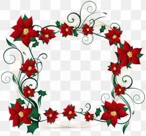 Flower Banner - Candy Cane Christmas Decoration Borders And Frames Clip Art PNG