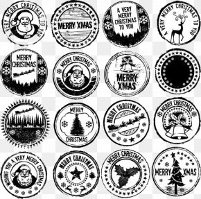 FIG Christmas Stamp In Black And White - Nail Art Christmas Santa Claus PNG