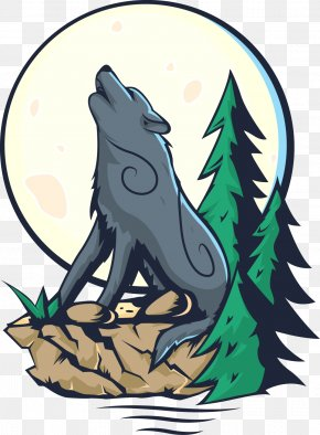 Vector Wolf Whistled Across The Sky - Gray Wolf Illustration PNG