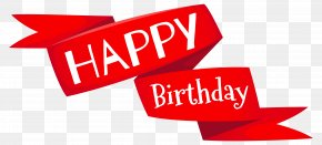 Red Happy Birthday Banner Image - Birthday Cake Wish Clip Art PNG