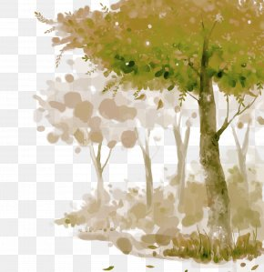 Forest Vector,Cartoon,Hand,Watercolor - Watercolor Painting Adobe Illustrator Computer File PNG