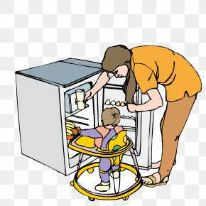 In The Refrigerator To Give Her Daughter To Drink The Mother - Woman Weaning Clip Art PNG