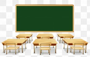 Classroom With Green Board And Desks Clipart Image - Classroom Comanche Springs Elementary Clip Art PNG