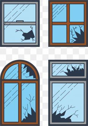 Cracked Windows - Shatter Broken Windows Theory Clip Art PNG