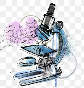 Vector Hand-painted Graffiti Microscope - Microscope Cartoon Optical Instrument Illustration PNG