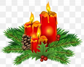 Christmas Candles Clip Art Image - Christmas Day Candle Clip Art PNG
