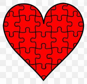 Cartoon Puzzle Pieces - Jigsaw Puzzle Heart Valentines Day Clip Art PNG