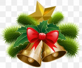 Christmas Bells And Bow Clip Art Image - Jingle Bell Christmas Clip Art PNG