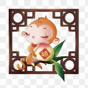 Peach And Monkey - Monkey Chinese New Year Chinese Zodiac Bainian Lunar New Year PNG
