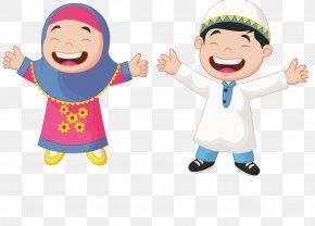 Muslim Students - Muslim Cartoon Child Illustration PNG