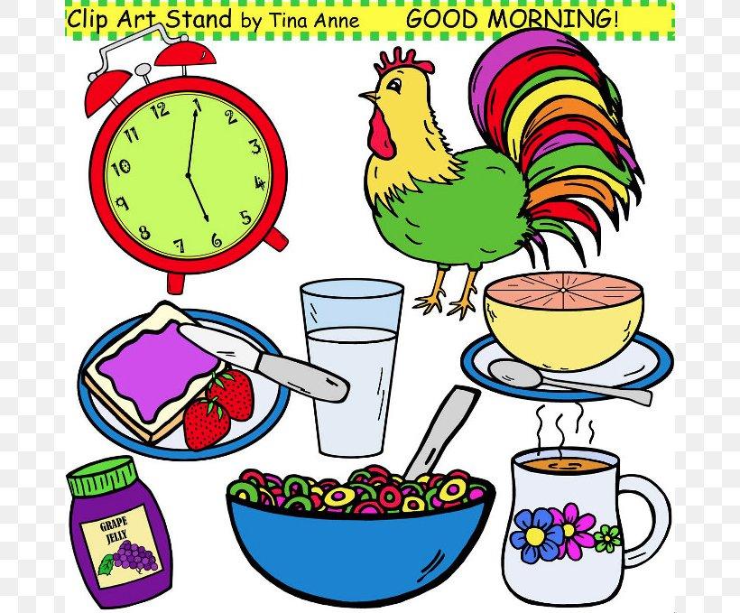 Breakfast Morning Clip Art, PNG, 676x679px, Breakfast, Area, Artwork, Beak, Chicken Download Free