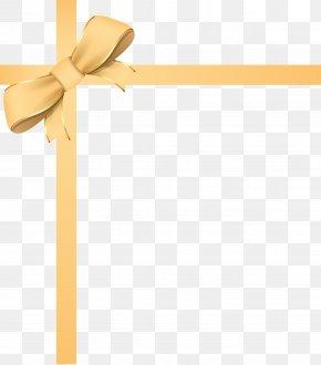 Golden Ribbon Bow Frame - Ribbon Paper Download PNG