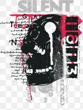 Black Skull Print - Printed T-shirt Clothing Graphic Design PNG