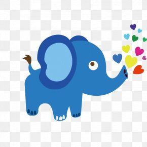 Blue Cute Cartoon Baby Elephant - Indian Elephant Clip Art PNG