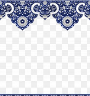 Chinese Floral Border - Flower Blue PNG