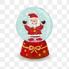 Santa Claus Vector Crystal Ball - Santa Claus Christmas Ornament Crystal Ball PNG