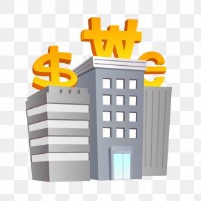 Bank Buildings - Cartoon Marketing Comics Illustration PNG