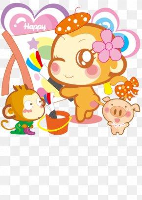 Painting Little Monkey - Monkey Cartoon Wallpaper PNG