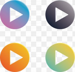 Gradient Color Round Play Button - Button Download Icon PNG