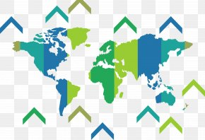 Color Block World Map - Globe World Map Wall Decal PNG