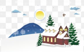 Villa Winter Scenery Snow Hanging Clip - Snow Winter Illustration PNG