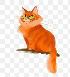 Cartoon Orange Kitten - Sphynx Cat Snowshoe Cat Kitten Drawing Illustration PNG