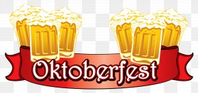 Oktoberfest Red Banner With Beers Clipart Image - Oktoberfest Beer German Cuisine Clip Art PNG