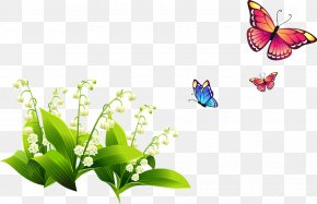 Spring Flowers - Clip Art Monarch Butterfly Image Spring PNG