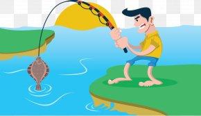 Men Fishing By The River - Fishing Fish Pond Fisherman Clip Art PNG