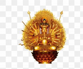 Gold Buddha Statue - Senshu Kannon Bosatsu Guanyin Bodhisattva Buddhism Cundi PNG