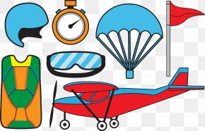 Airplane Glasses, Safety Helmet, Red Flag Supplies - Airplane Helmet Parachuting Clip Art PNG