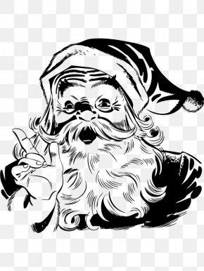 Santa Claus - Santa Claus Black And White Christmas Clip Art PNG