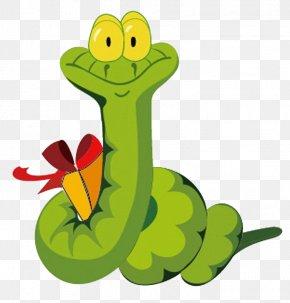 Green Snake And Gift Box - Snake Chinese Zodiac PNG