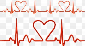 Heart Shape Electrocardiogram Vector - Pulse Electrocardiography Heart Rate Line PNG