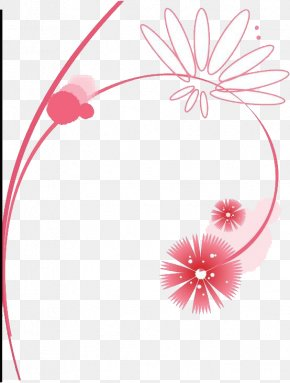 Pink Flowers With Map - Pink Illustration PNG
