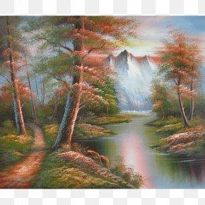 Watercolor Painting Landscape - Watercolor Painting Nature Golden Autumn Landscape Painting PNG