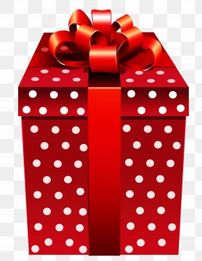 Red Dotted Present Clipart - Gift Box Clip Art PNG