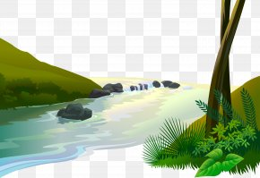 Vector River - Jungle Cartoon Clip Art PNG