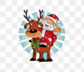Accompanied By Deer And Red Santa Claus All The Way - Santa Claus's Reindeer Christmas New Year PNG