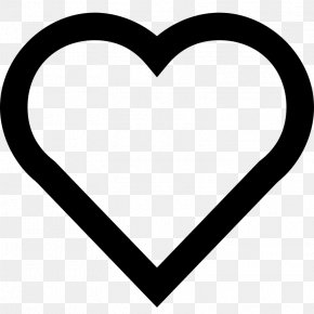 Simple Heart Outline - Heart White Black Pattern PNG