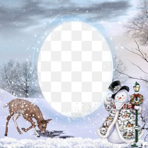 Fantasy Snowman Greeting Border - Picture Frame Decorative Arts Film Frame PNG