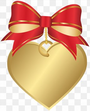 Gold Heart With Red Bow Transparent Clip Art Image - Heart Red Clip Art PNG