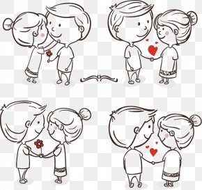 Romantic Hand-painted Couple - Drawing Romance Love Couple Cartoon PNG