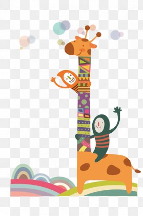 Abstract Cartoon Child And Giraffe - Giraffe Cartoon Child Illustration PNG