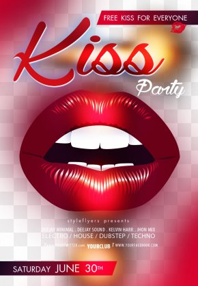 Bar KISS Party Poster - Poster Kiss Lip PNG