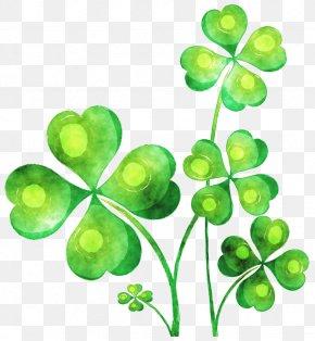 Painted Green Clover - Ireland T-shirt Four-leaf Clover Shamrock PNG