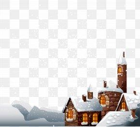 Cartoon Christmas Snow House - Snow Winter PNG