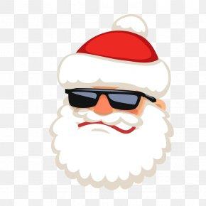 Santa Wearing Sunglasses Vector - Santa Claus Reindeer PNG