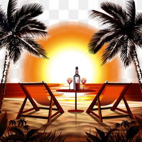 Vector Illustration Beach Sunset - Beach Sunset Stock Photography Clip Art PNG