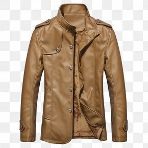 Yellow Brown Leather Jacket - Leather Jacket Coat Collar PNG